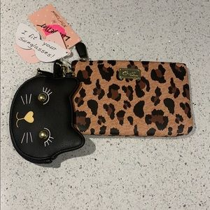 Betsey Johnson leopard wristlet & change purse